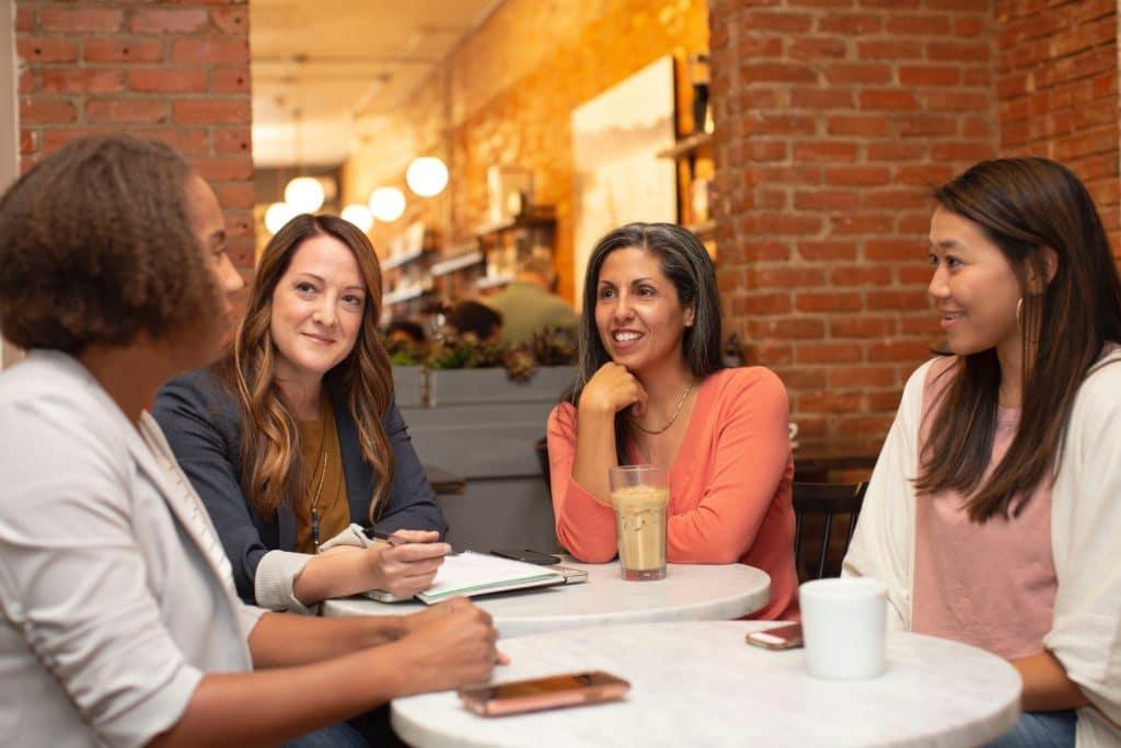 Group of women meeting for coffee